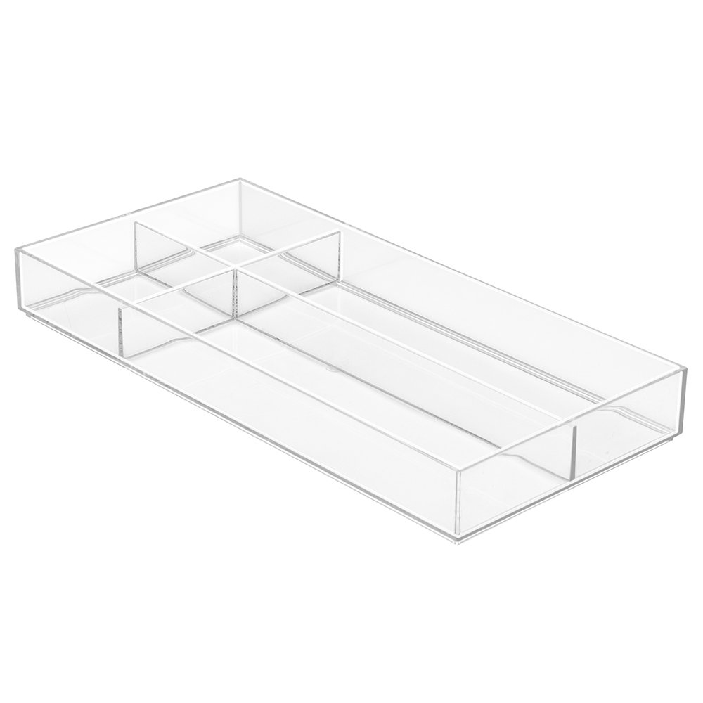 InterDesign Clarity Cosmetic Drawer Organizer for Vanity Cabinet to Hold Makeup, Beauty Products - 8 x 8 x 2, Clear 40880