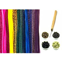 "New 21 Pc Kit "" Raindow Mix 7""-11"" Feather Hair Extensions"" 10 Long Genuine Single Feathers + 10 Micro Beads & 1 Hook Tool (Colors Will Be Chosen Randomly)"