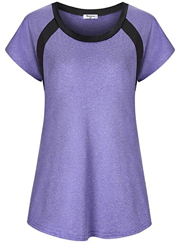 Yoga Tops for Women Feminine Short Sleeve Fit Gym T Shirts Workout Tops Tunic Style Stretchy Breathable Blouses Moisture Wicking Sports Running Clothes Fitness Knits Tees Large Purple
