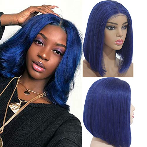 (Myfashionhair Quality Wigs Silky Straight 13 by 4 Human Hair Wig 10 inch 180% Density Best Lace Wigs with 13x4 Swiss Lace and Adjustable Cap, Pre Plucked Short Remy Hair Wigs (Blue))