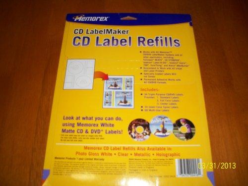 Memorex CD&DVD LabelMaker CD Label Refills 34 White ()