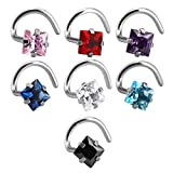 Jovivi 20 Gauge Silver Curved Nose Rings Stainless Steel Nose Studs Square Mix-color Cubic Zirconia Piercing Body Jewelry