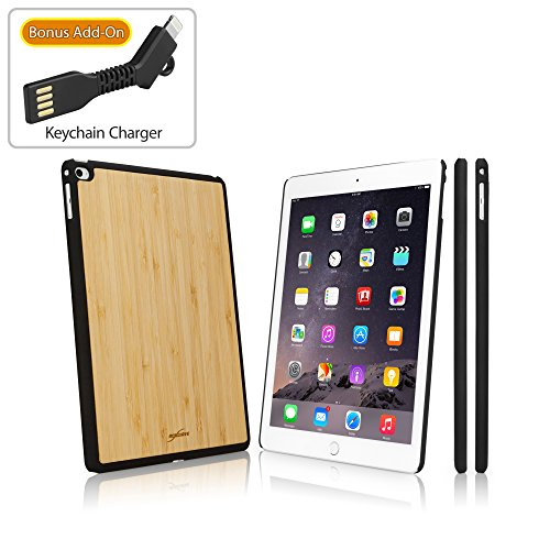 BoxWave iPad Air 2 Case, [True Bamboo Minimus Case with Bonus Keychain Charger] Hand Made, Real Wood Cover for Apple iPad Air 2 - Jet Black