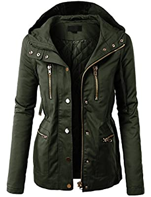 LE3NO Womens Military Anorak Safari Jacket