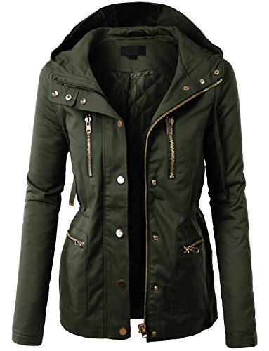 LE3NO Womens Plus Size Anorak Utility Military Jacket with Pockets