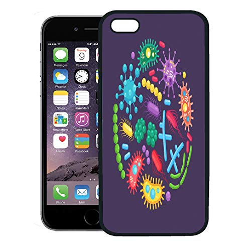 Semtomn Phone Case for iPhone 8 Plus case Cover,Bacteria Germ Virus in Circle Cell Cancer Microbe Biology Microorganisms Disease Causing Organisms,Rubber Border Protective Case,Black