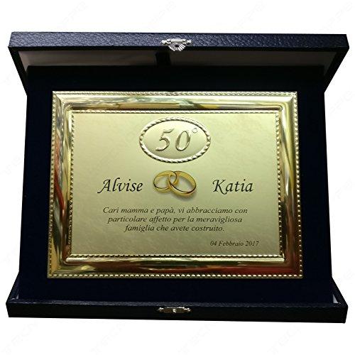 Tecnocoppe Targa In Alluminio 50 Anniversario Matrimonio Nozze D Oro 50 Anni Con Astuccio E Stampa Personalizzata