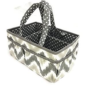 Bacati Mix and Match Nursery Fabric Storage Caddy with Handles, Grey