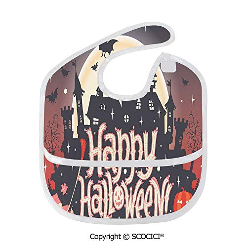SCOCICI Durable Soft Lightweight and Comfortable Baby Bib Medieval Gothic Castle with Happy Halloween Typography Stars Bats Moon Cheerful Child Bibs]()