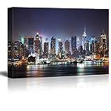 "Canvas Prints- New York City Manhattan Skyline Panorama at Night over Hudson- 32"" x 48"""