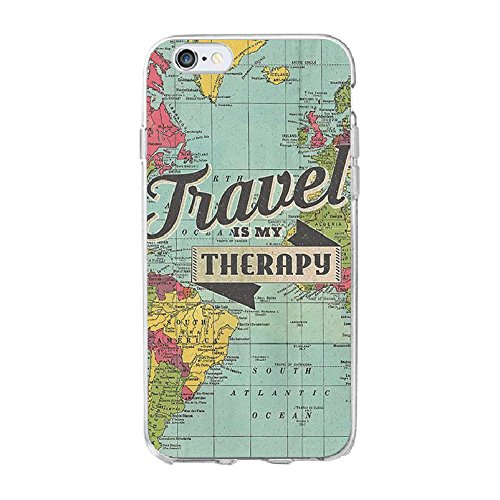 Blue World Map iPhone 8 Plus Size Case Bigger Screen, Transparent Travel iPhone 7 Plus Cover Tour Themed iPhone Phone Soft Casing Gift for Travel, Clear Dirt Resistant Anti-Knock Silicone