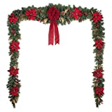 Home Accents Holiday 17 ft. Unlit Artificial Christmas Garland, Beautifully Decorated with Fabric Poinsettia, Red Berries, Gold Glitter Cedar Sprigs, Pinecones and Bow Center Accent