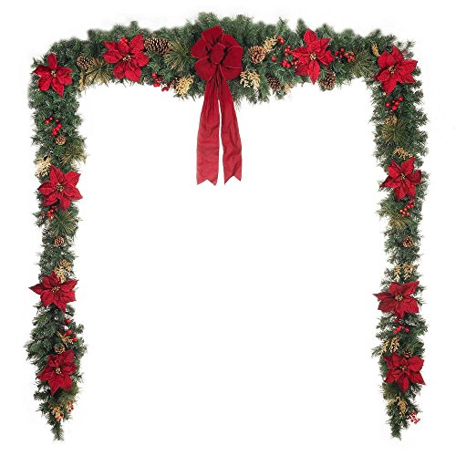 Home Accents Holiday 17 ft. Unlit Artificial Christmas Garland, Beautifully Decorated with Fabric Poinsettia, Red Berries, Gold Glitter Cedar Sprigs, Pinecones and Bow Center Accent by Home Accents Holiday