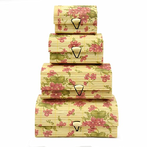 Price comparison product image Floral Bamboo Wooden Nesting Storage Boxes – Set of 4 Decorative Asian Style Organizers – Small Sizes for Desktop Clutter,  Business Cards,  Other Tiny Items & Trinkets
