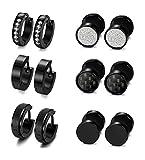LOYALLOOK Assorted 3 Pairs Stainless Steel Small Hoop Earrings for Men Women Huggies Earrings Black Color (6 pairs)