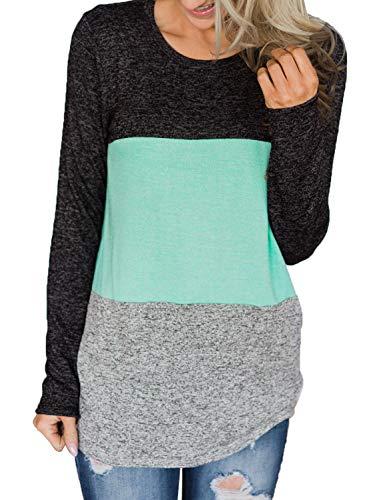 (Asvivid Womens Casual Long Sleeve Color Block T-Shirt Sweatshirt Round Neck Loose Ladies Tunic Top M Multi4)