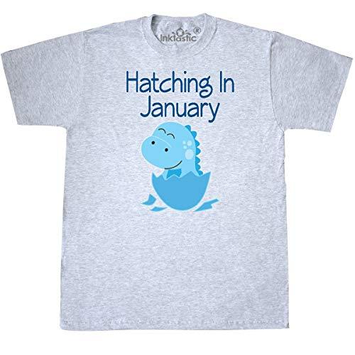 (inktastic - Dinosaur January Due Date Baby Boy T-Shirt X-Large Ash Grey f907)