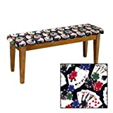 Shaker Design - Oak Dining Bench with a Padded Seat Cushion Featuring Your Favorite Novelty Themed Fabric (Poker)