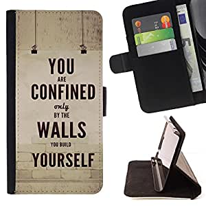Momo Phone Case / Flip Funda de Cuero Case Cover - Texto retro inspirador mensaje - Samsung Galaxy Note 5 5th N9200