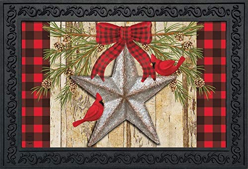 Briarwood Lane Festive Barnstar Winter Doormat Primitive Cardinals Indoor Outdoor 18 x 30