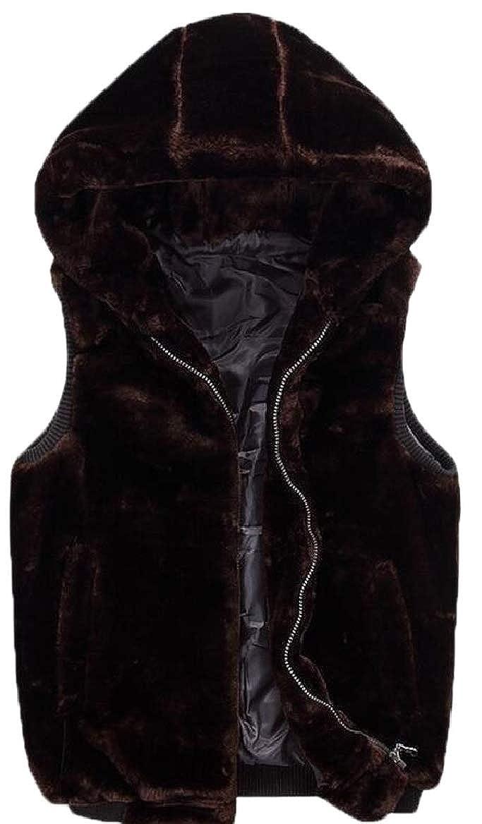 RRINSINS Men Winter Faux Fur Pure Color Warm Vest Waistcoat Hoodie Outerwear