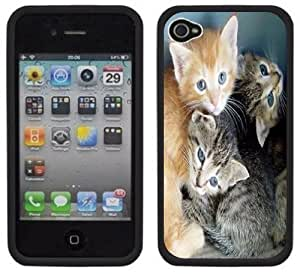 Cute Kittens Cats Handmade iPhone 4 4S Black Hard Plastic Case