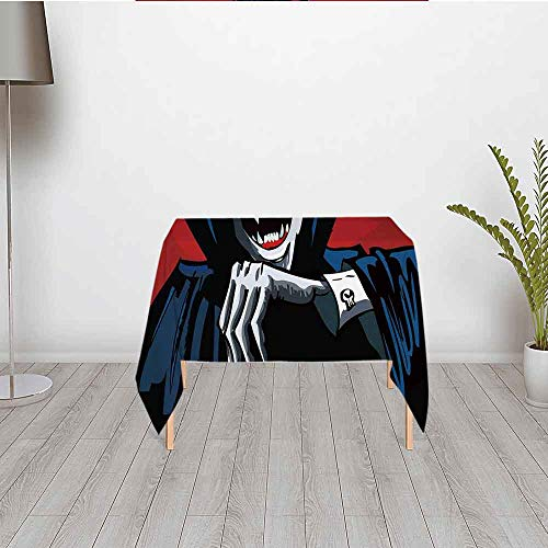 Vampire Comfortable Satin Tablecloth,Cartoon Cruel Old Man with Cape Sharp Teeth Evil Creepy Smile Halloween Theme for Office & Home Table,23.62''W x 23.62''H]()