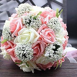 Bride Holding Flowers Romantic Wedding Colorful Bride 'S Bouquet,Red Pink Blue and Purple Bridal BouquetsPurple 18