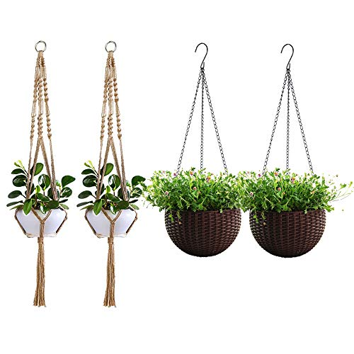 (2 Hanging Planter Set Hanging Baskets pots for Plants Flower Patio Indoor Outdoor Decor with 2 Macrame Plant Hanger Jute Ropes)