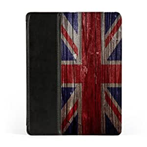 United Kingdom Flag on Vintage Wood - UK Flag - Union Jack - United Kingdom Flag - Flag of Great Britain Premium Faux PU Leather Case, Protective Hard Cover Flip Case for Apple® iPad 2 / 3 and iPad 4 by UltraFlags + FREE Crystal Clear Screen Protector