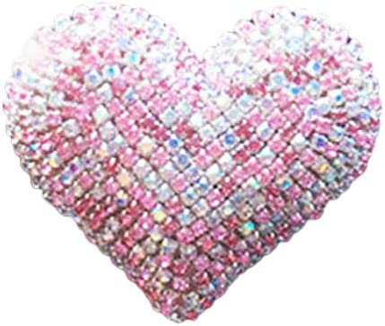 Wakauto Bling Car Decor Car Air Vent Clip Charms Crystal Heart Interior Car Accessory Women Car Decoration Charms Rhinestone Car Bling Accessories Gift for Valentines (Pink)