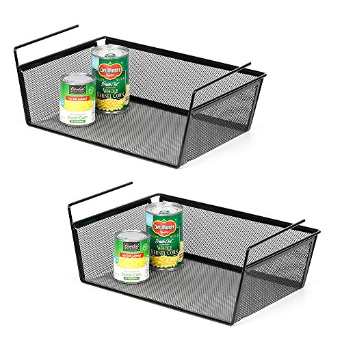 LIANTRAL 2-Pack Under Shelf Hanging Storage Basket Dense Network Large Size (15.35″ x 9.4″ x 5.7″) for Kitchen Pantry Cabinet Cupboard Door Wardrobe Desk, Black (LT-DB066A)