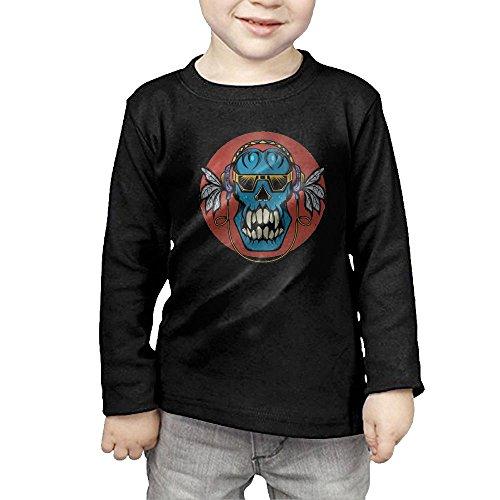 Cuihualili Earphone Skull Glasses Cool Children's Long Classic Comfortable Sleeve T-Shirt