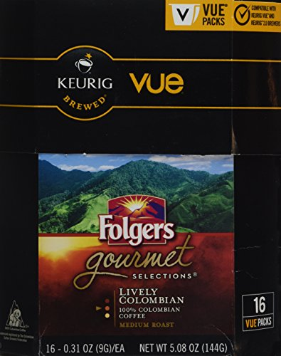 32 Count - Folgers Gourmet Selections Lively Colombian Coffee Vue Cup For Keurig Vue Brewers