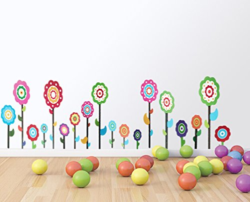 Garden Flower Decor Peel And Stick Kids Wall Decal For