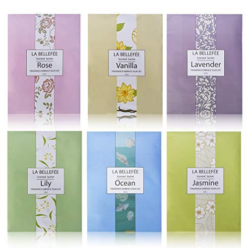 LA BELLEFÉE Scented Sachets Fragrance Sachet Bags for Home Wardrobe Drawer Car Perfume Envelope Pouch 30g (6 Pack) Gift Set