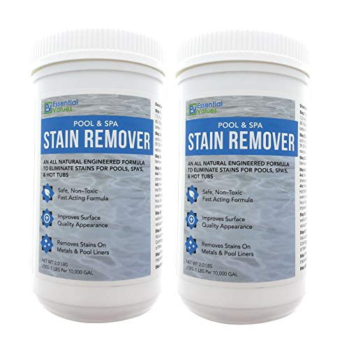 Essential Values 2 Pack Swimming Pool & Spa Stain Remover (4 LBS Total) - Natural & Safe, Works for Vinyl Liners, Fiberglass, Metals - Removes Rust & Other Tough Stains Without Harsh Chemicals (Vinyl Pool Stains)