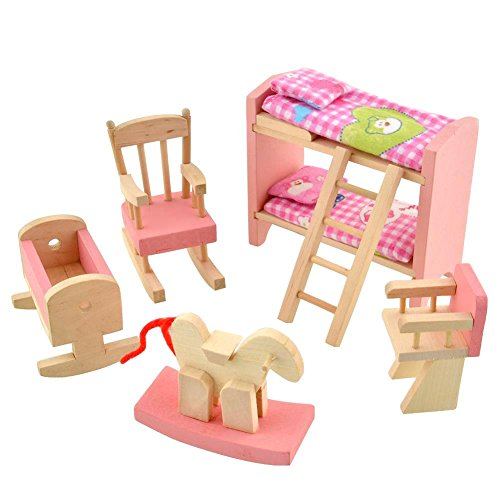 Kids Bedroom Furniture Kids Wooden Toys Online: Peradix Wooden Doll House Furniture Set,Miniature Bathroom