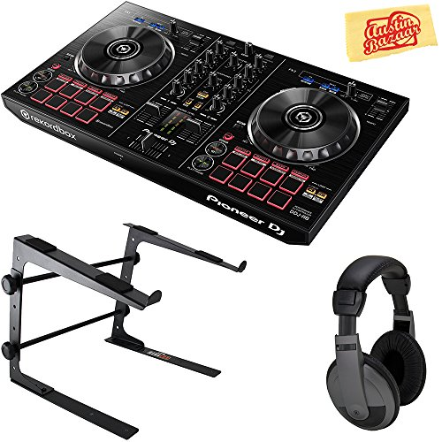 Pioneer DDJ-RB Portable 2-Channel Controller for Rekordbox DJ Bundle with Stand, Headphones, and Austin Bazaar Polishing Cloth, Bundle w/ ()