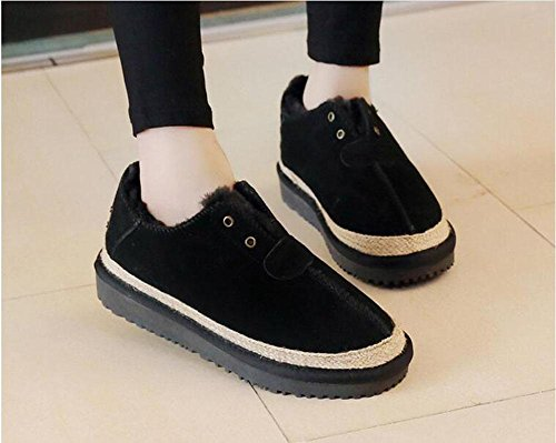 KUKI snow flat leather soles soled shoes thick shoes wool Women's leather matte shoes cotton boots Black lazy boots women's thick Pqa1wrXPx