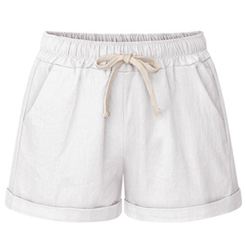 Manwan walk Women's Drawstring Elastic Waist Casual Comfy Cotton Linen Beach Shorts (X-Large, White)