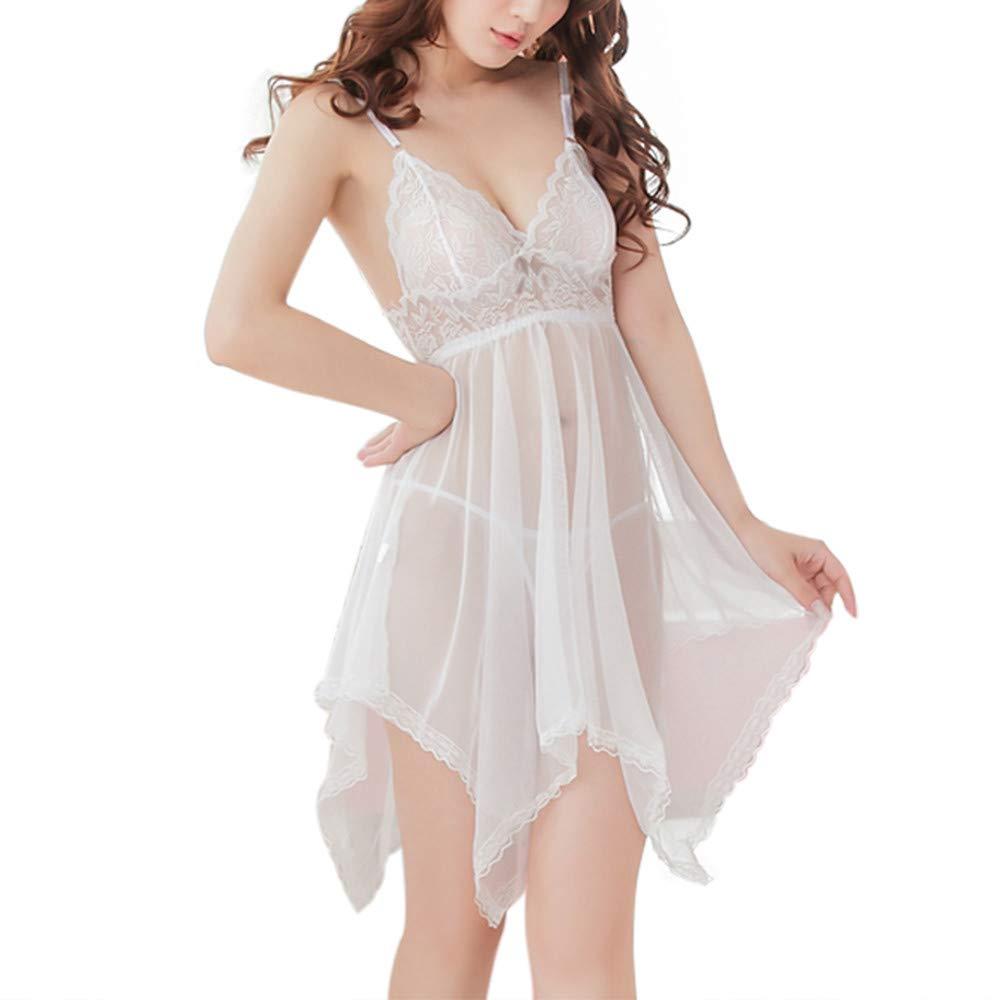 CSSD Fashion Women Sexy Lace Sleepwear Lingerie Translucent Underwear Nightdress (White, 2XL)