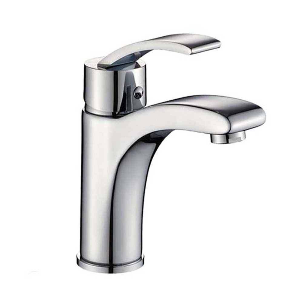 SADASD Modern Bathroom sink faucet Copper Double Handle Double Hole Stainless Steel redating faucet Double Open Kitchen sink faucet Hot and Cold Water Ceramic Valve Core Tap With G1 2 Stainless Steel Hose