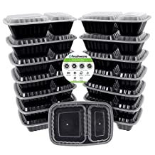 Freshware YH-8288 Reusable 15-Pack Bento Lunch Box Food Container, 2-Compartments, Lid-Microwave, Freezer, Dishwasher Safe, 8.7 X 6 X 1.9 in, 27-Ounce, Clear