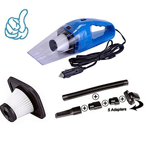 Car Vacuum Cleaner 120W Portable Handheld Vacuum Cleaner Wet and Dry Dual Use Car Vacuum Aspirateur Voiture 12V (Blue)