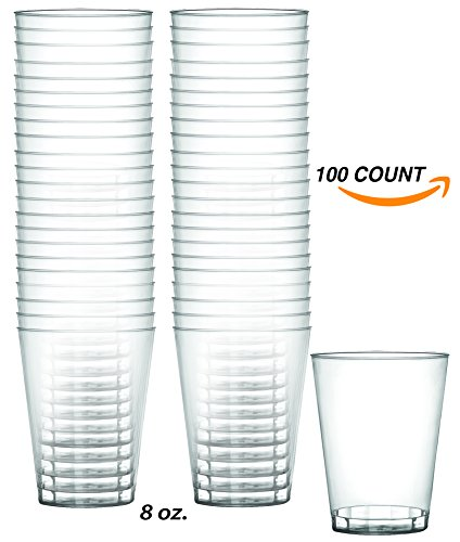 Crystal Clear Tumbler - Heavy Duty 8 oz Crystal-Clear Party Tumblers | 100 Count Pack | Disposable or Reusable Cups