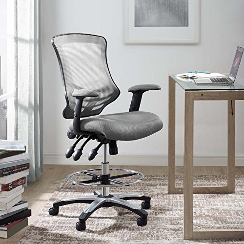 Modway Calibrate Mesh Drafting – Reception Desk Chair – Tall Office Chair in Gray