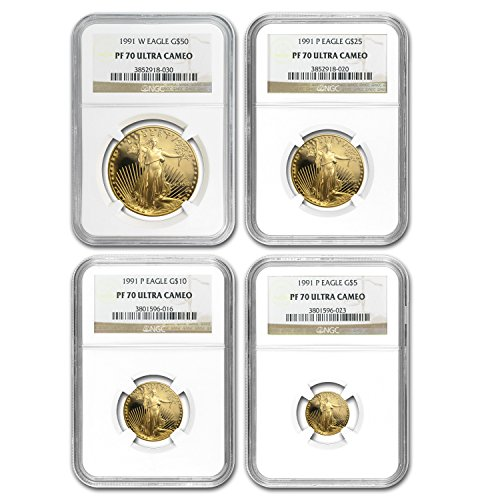 1991 4-Coin Proof Gold American Eagle Set PF-70 NGC PF70