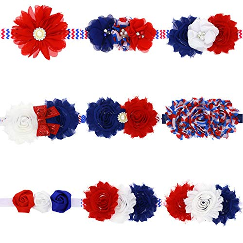 4th of July Headband American Independence Day Infant Baby Girls Headband Zerowin Flag Style Bow Hairband for 0-3 Years (Pack of 9)