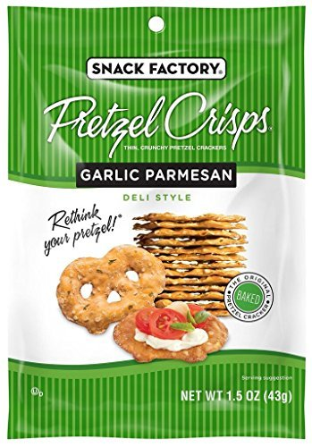 Snack Factory Garlic Parmesan Pretzel Crisps, 1.5 Ounce (Pack of 24) by Snack Factory
